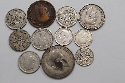 Uk Gb Old Coins Lot With Silver A99 Sccc19