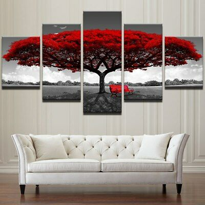 Big Red Tree Nature Landscape 5 piece canvas Wall Art Home Decor Picture Print