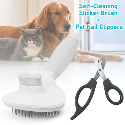 Self-Cleaning Dog Slicker Brush Pet Cat Grooming Reduce Shedding Healthy Coat