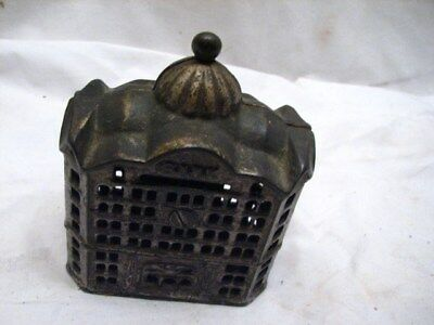 Vintage Cast Iron Office Building Dime Still Bank Toy Penny Coin Tower