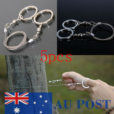 5pcs Mini Emergency Survival Gear Stainless Steel Wire Saw Outdoor Tool AU