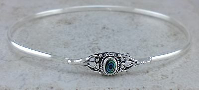 CUTE 925 STERLING SILVER ABALONE SHELL CUFF BRACELET style# br233