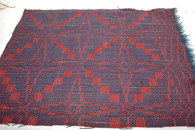 Red Blue Woven Homespun Coverlet Blanket Piece Repurpose Stack