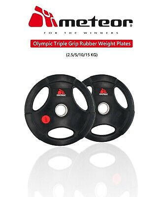 METEOR Olympic Rubber 2.5-15KG Weight Plate Fitness Weightlifting Gear Barbell