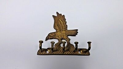 Vintage Brass American Eagle Wall Key Holder