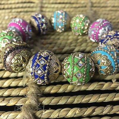 Chinese Handwork Colorful Colored Glaze Old Collectible Rare Flowers Bracelet