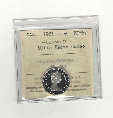 **1981**, ICCS Graded Canadian,  5 Cent, **PF-67 UHC**