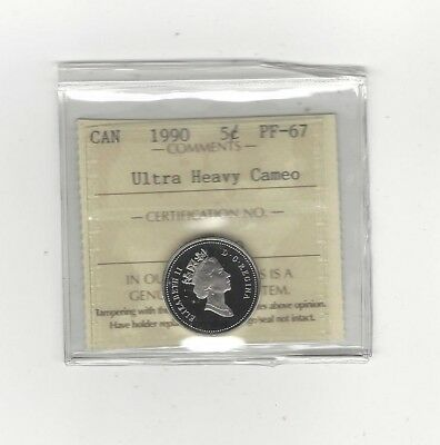 **1990**, ICCS Graded Canadian,  5 Cent, **PF-67 UHC**