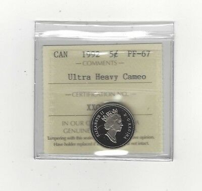 **1992**, ICCS Graded Canadian,  5 Cent, **PF-67 UHC**
