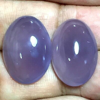 27ct Gem Violet Purple CHALCEDONY diackethyst Oval Cab Pair ~Natural Untreated~
