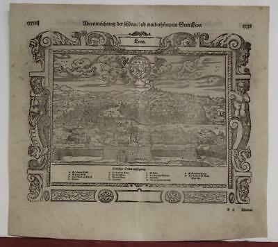 Lyon France 1574 Sebastian Münster Unusual Antique Original Woodcut City View