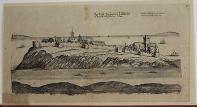 Isle Of Man Peel Cathedral 1650 Daniel King Unusual Antique Copper Engraved View