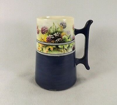 Antique WILLETS BELLEEK Mug Stein Tankard Hand Painted Grapes Leaves Gorgeous