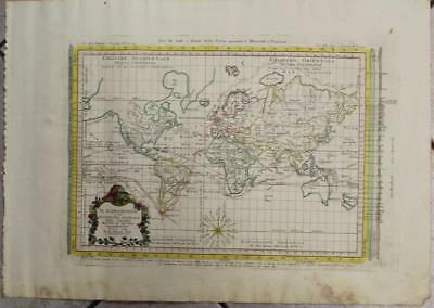 1774 Zatta Unusual Antique Copper Engraved World Map On Mercator's Projection