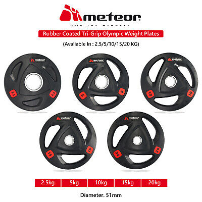 METEOR Olympic Rubber 2.5-20KG Weight Plate Fitness Weightlifting Gear Barbell