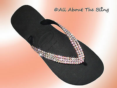 78ee6a651 Havaianas flip flops or Cariris wedge with Swarovski Crystals AB Iridescent