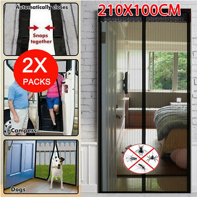 2 x SET Magnetic Door Mesh Black Fly Screen Magic Magna Mosquito Bug Curtain AU