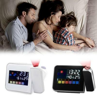 Projection Digital Weather LCD Snooze Alarm Clock Display LED Backlight