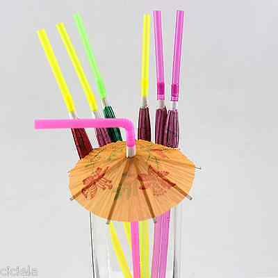 New 20X Paper Parasol Umbrella Fruit Tea Cocktail Drink Straws Party Decorations