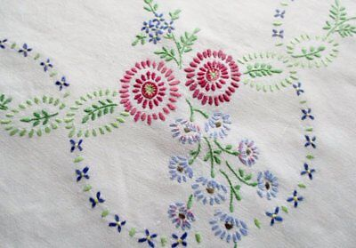 Vintage Tablecloth Hand Embroidered Flowers -Linen