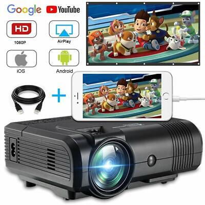 2019 WIFI 3D Full HD 1080P 8000 ANSI LED Projector Home Theater AV/2USB/HDMI NEW