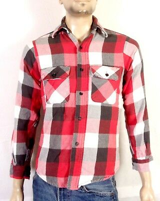 vtg 70s Five Brother USA made Big Red/Gray Check Flannel Shirt work GRUNGE sz S