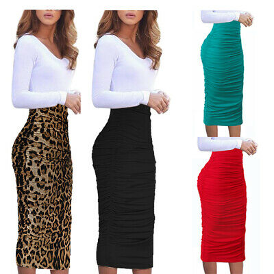 c9d1f63ae1b Womens Elegant Ruched Ruffle High Waist Work Casual Pencil Midi Mid-Calf  Skirt
