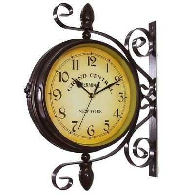 Wrought Iron Vintage-Inspired Rotatable Double Sided Hanging Wall Clock Decor