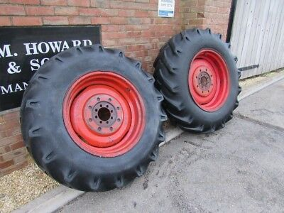 MF 14.9 x 26 WHEELS & TYRES PAIR REMOVED X2 FROM MASSEY FERGUSON 165 8 STUD