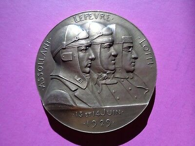Medaille De Table Bronze Aviation Assollant Lefevre Lotti Traversee Atlantique