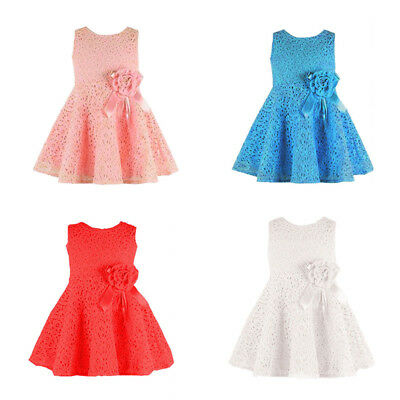 Dress Girl Princess Sleeveless Lace Flower a-line Pageant 4 colors Baby Party