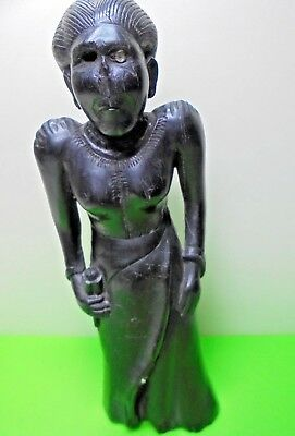 Antique Old Vintage Carved Wood Unknown Ethnic Tribal Female Figure At Fault