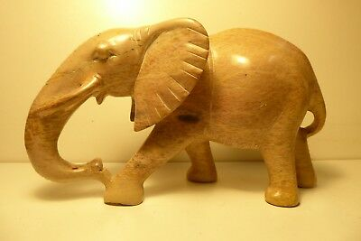 Carved African Soapstone Statue  Artist Carving Elephant Tribal Sculpture Art