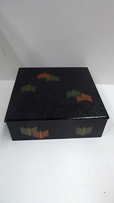 Vintage Lacquer Japanese Lidded Box Jewellery Dressing Table Stationary