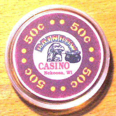 50 Cent Rainbow Casino Chip - Nekoosa, Wisconsin - 1993