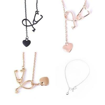 Nurse Doctor 18K Gold/Silver Medical Stethoscope Heart Collar Chain Necklace Jew
