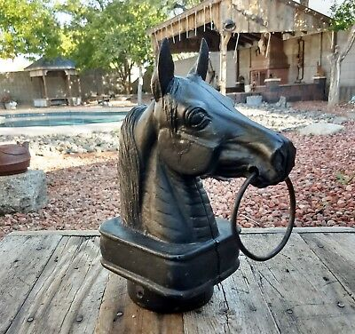 Vintage Cast Iron Horse Head Hitching Post Topper Very Good Condition Fence Gate