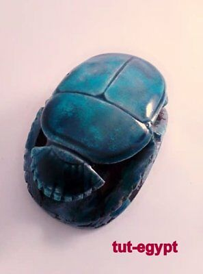 ANCIENT EGYPTIAN ANTIQUE SCARAB  Turquoise Glazed  Stone 1356-1226 BC