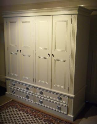 Large Painted Chunky Pine 4 Door 4 Drawer Wardrobe Armoire Linen Press Delivery*