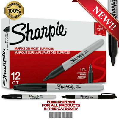 Sharpie 30001 Permanent Markers, Fine Point, Black, Box of 12