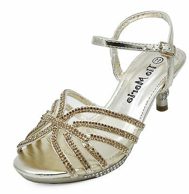 Girls Childrens Gold Diamante Low-Heel Sandals Pretty Party Dress Shoes Uk 10-2