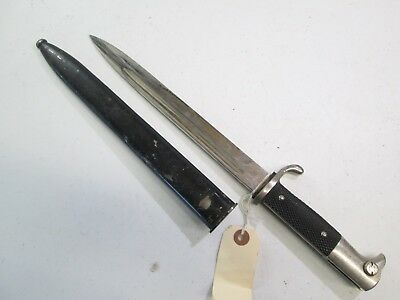 Wwii German Short Trench Dress Bayonet With Scabbard Tiger Solingen Maker #z334