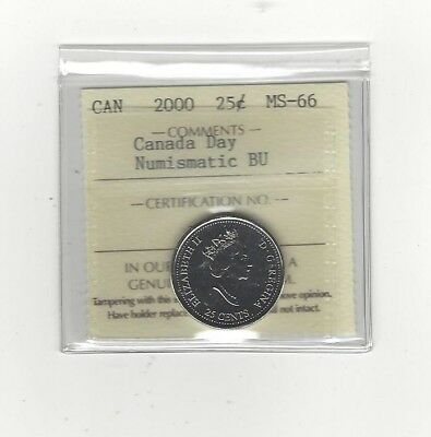 **2000 Canada Day, Colour** ICCS Graded Canadian,25 Cent, **MS-66 NBU**