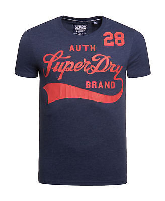 New Mens Superdry Underline T-Shirt Princeton Blue Marl