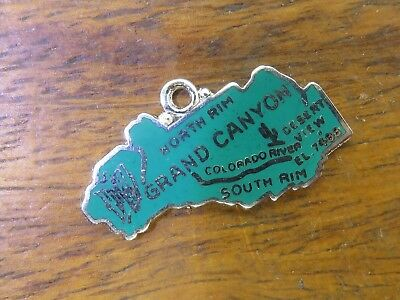 Vintage sterling silver GRAND CANYON NORTH SOUTH RIM MAP GREEN ENAMEL charm