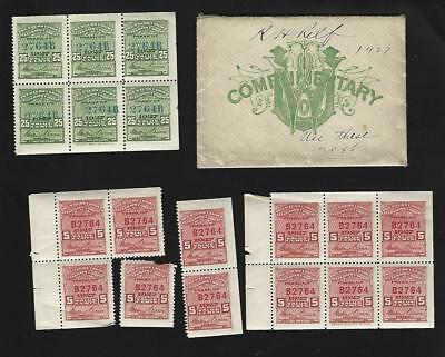 US Western Union Telegraph Company 1927 Revenue Stamps and Panes