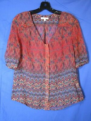 SKIES Are Blue SHEER CHIFFON Button UP TOP Tunic POET'S BLOUSE Red Multi XS