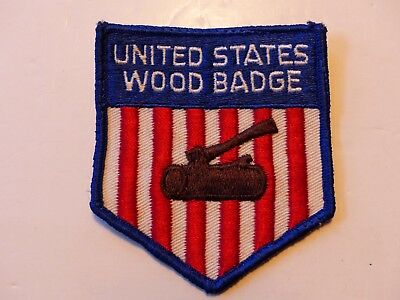 Used Vintage United States Wood Badge Shield Shaped RedWhiteBlue Boy Scout Patch