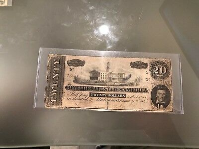1864 $20.00 Confederate States Note,