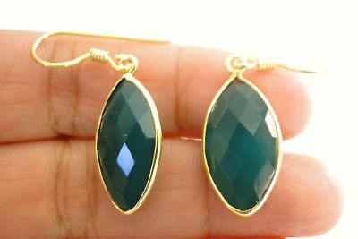 Dark Green Chalcedony Sterling Silver 18K Gold Overlay Dangle Drop Earrings